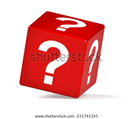 red cube with question mark isolated on white background. High quality 3D render.