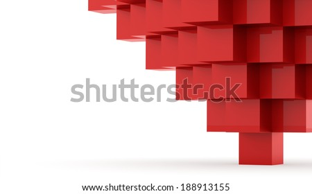 Red cubes concept rendered on white background - stock photo
