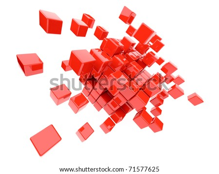 Red cubes 3D. Isolated on white background - stock photo