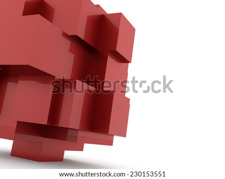 Red cubes icon concept rendered on white background - stock photo