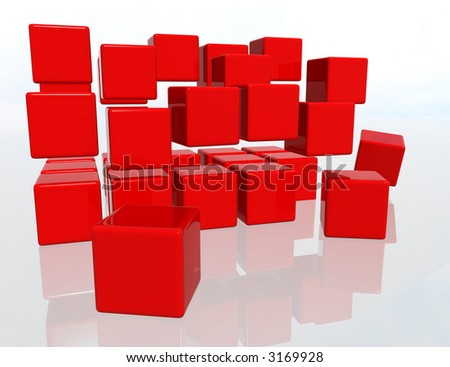 Red cubes over a white background - stock photo