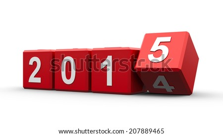 Red cubes with 2014-2015 change on a white table represents the new 2015, three-dimensional rendering