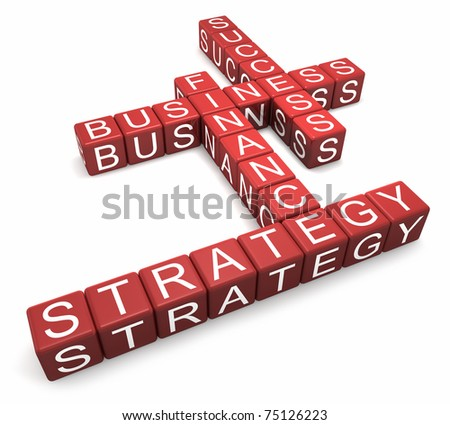 Red cubes with letters arranged in words business, strategy, finance and success, white background, 3d render
