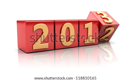 Red cubes with number 2012 change on 2013 - stock photo