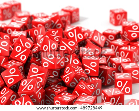 Red cubes with percent in focus isolated on white background. 3D illustration.
