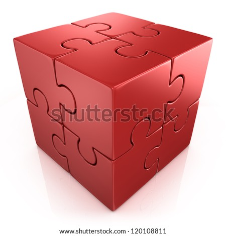 red cubical 3d puzzle - stock photo