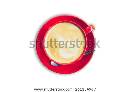 red cup and latte coffee on isolated white background with clipping path. - stock photo