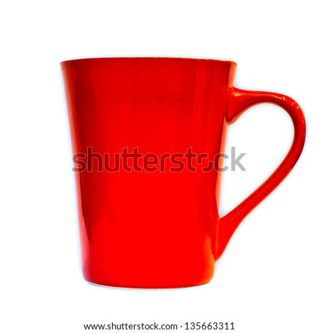 Red cup isolated on white - stock photo