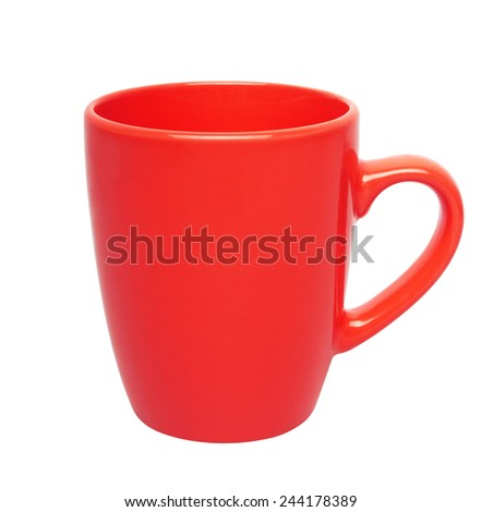 red cup isolated on white background - stock photo