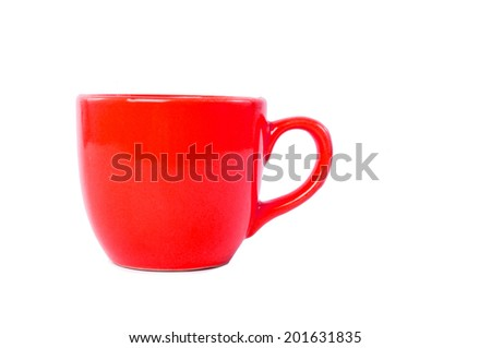 Red Cup Mug Isolated on white background. - stock photo