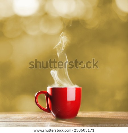 Red cup of coffee - stock photo