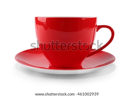 Red cup of coffee isolated on white
