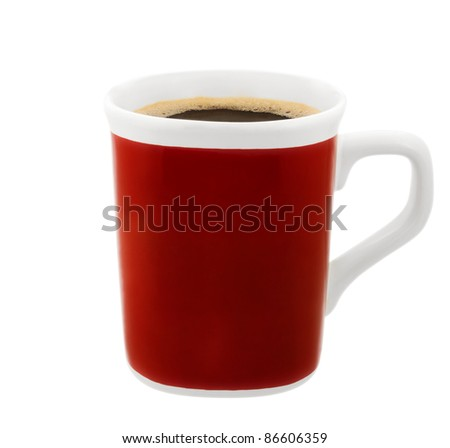 Red cup of coffee isolated on white background. Clipping path included. - stock photo
