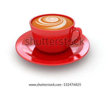 Red cup of coffee on a white background. 3d rendered image - stock photo
