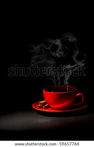 red cup of hot coffee - stock photo