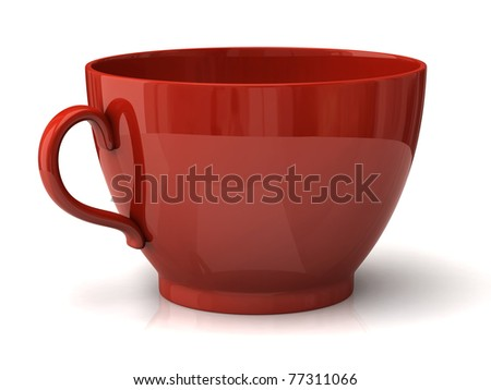 Red cup on a white background - stock photo