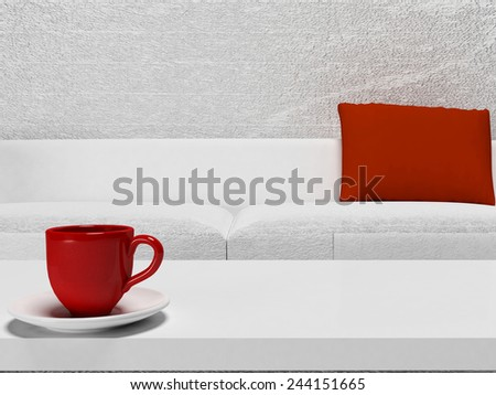 red cup on the table, 3d rendering - stock photo