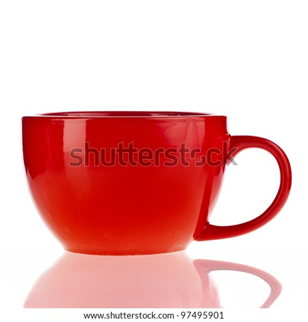 Red cup over white background