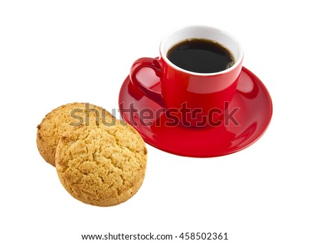 red cup with coffee and cookie is isolated on a white background