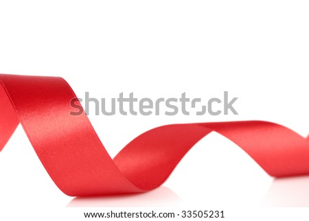 red curl ribbon - stock photo