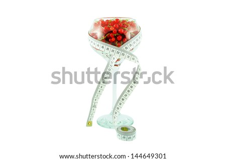 Red currant in a glass and meter on white background