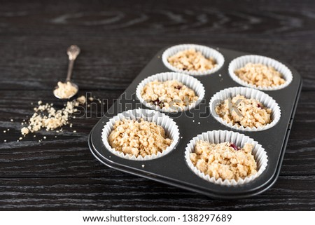 Red Currant Muffins before baking - stock photo