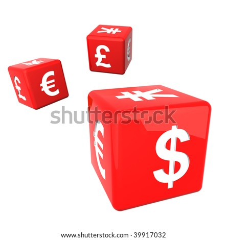 red currency dices isolated on white - stock photo
