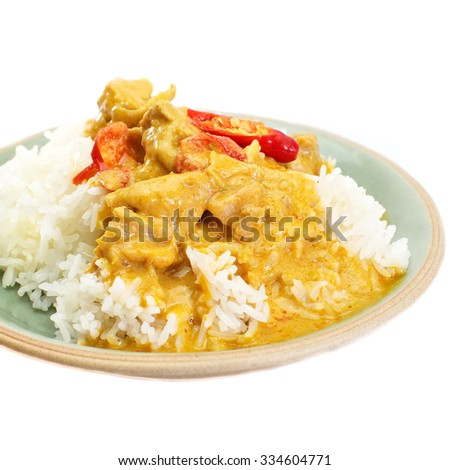 Red curry chicken and white rice on white background - stock photo