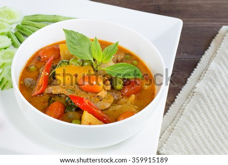 Red curry with roast duck delicious - stock photo
