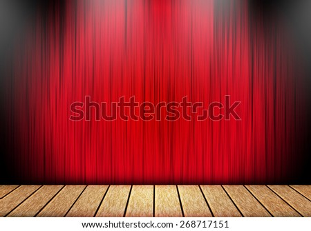 red curtain and wood stage background. - stock photo