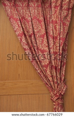Red curtain as wooden wall - stock photo