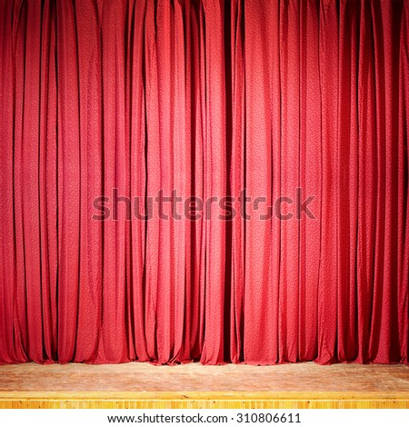 Red curtain at the theater, wooden stage - stock photo
