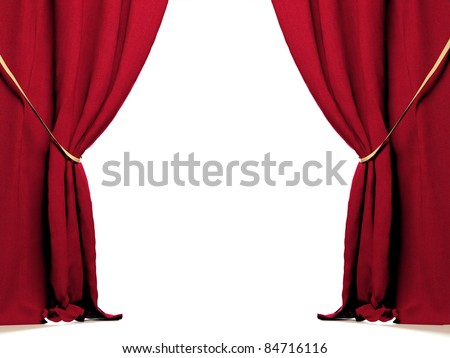 Red curtain at white background - stock photo