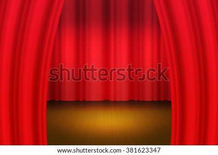 Red Curtain Backdrop Stock Illustration 381623347