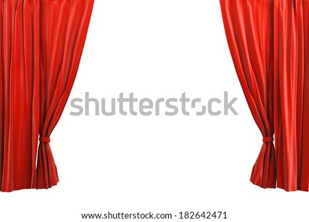 Red curtain classic style - stock photo