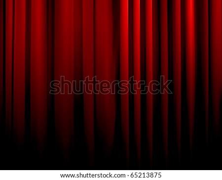red curtain fade to dark - stock photo