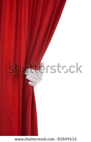 Red Curtain hand over white - stock photo