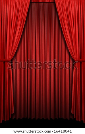 Red curtain in vertical format - stock photo