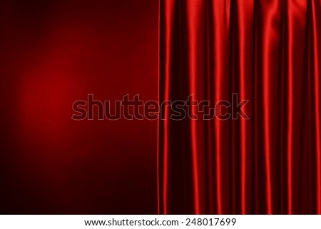 Red Curtain on red background - stock photo