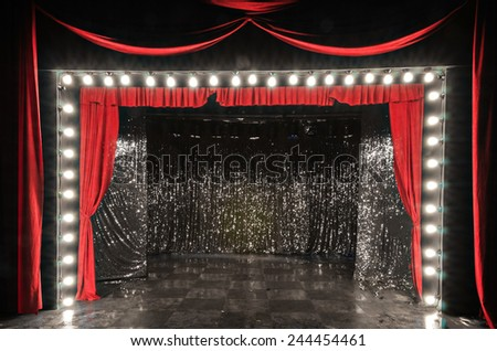 red curtain on stage - stock photo