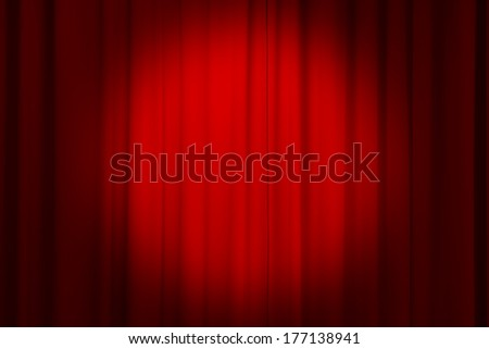 red curtain on theater or cinema - stock photo