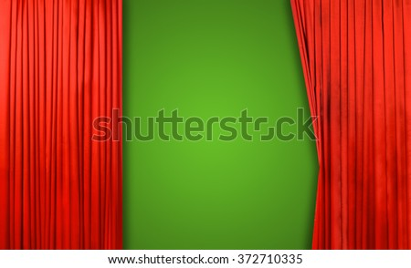 Red curtain on theater or cinema stage slightly open on green background - stock photo