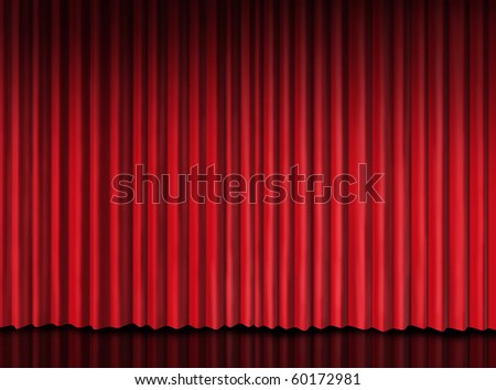 red curtain on theater stage - stock photo