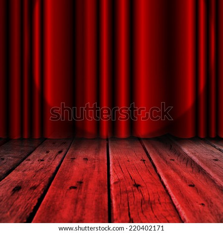 Red curtain on wood stage background  - stock photo