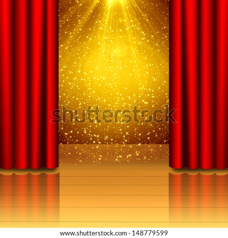 Red curtain open on wood stage  - stock photo