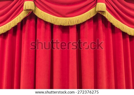 Red Curtain or Drapes - stock photo