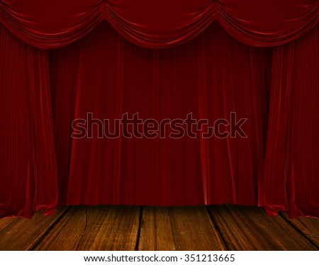 Red curtain pulling backwards