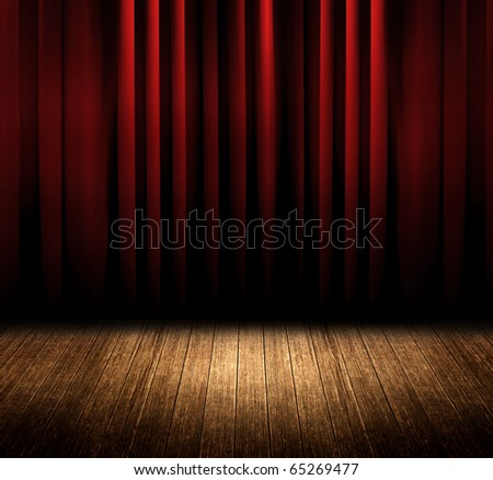 Red curtain room - stock photo