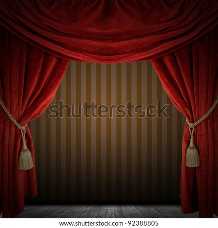 Red curtain room. illustration
