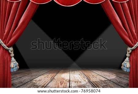Red curtain stage and spotlight - stock photo